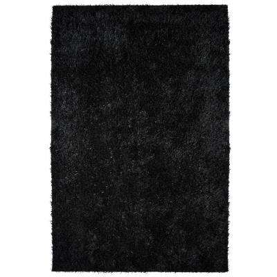 City Sheen Black Polyester 9 ft. x 12 ft. Area Rug