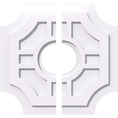 18 in. OD x 5 in. ID x 1 in. P Haus Architectural Grade PVC Contemporary Ceiling Medallion (2-Piece)