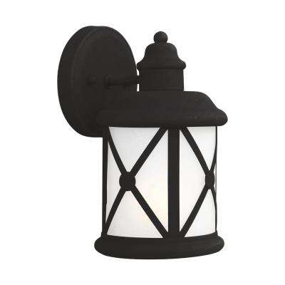Lakeview 1-Light Black Outdoor Wall Mount Lantern with LED Bulb