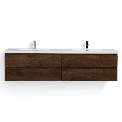 Bohemia 84 in. W Bath Vanity in Rosewood with Reinforced Acrylic Vanity Top in White with White Basins