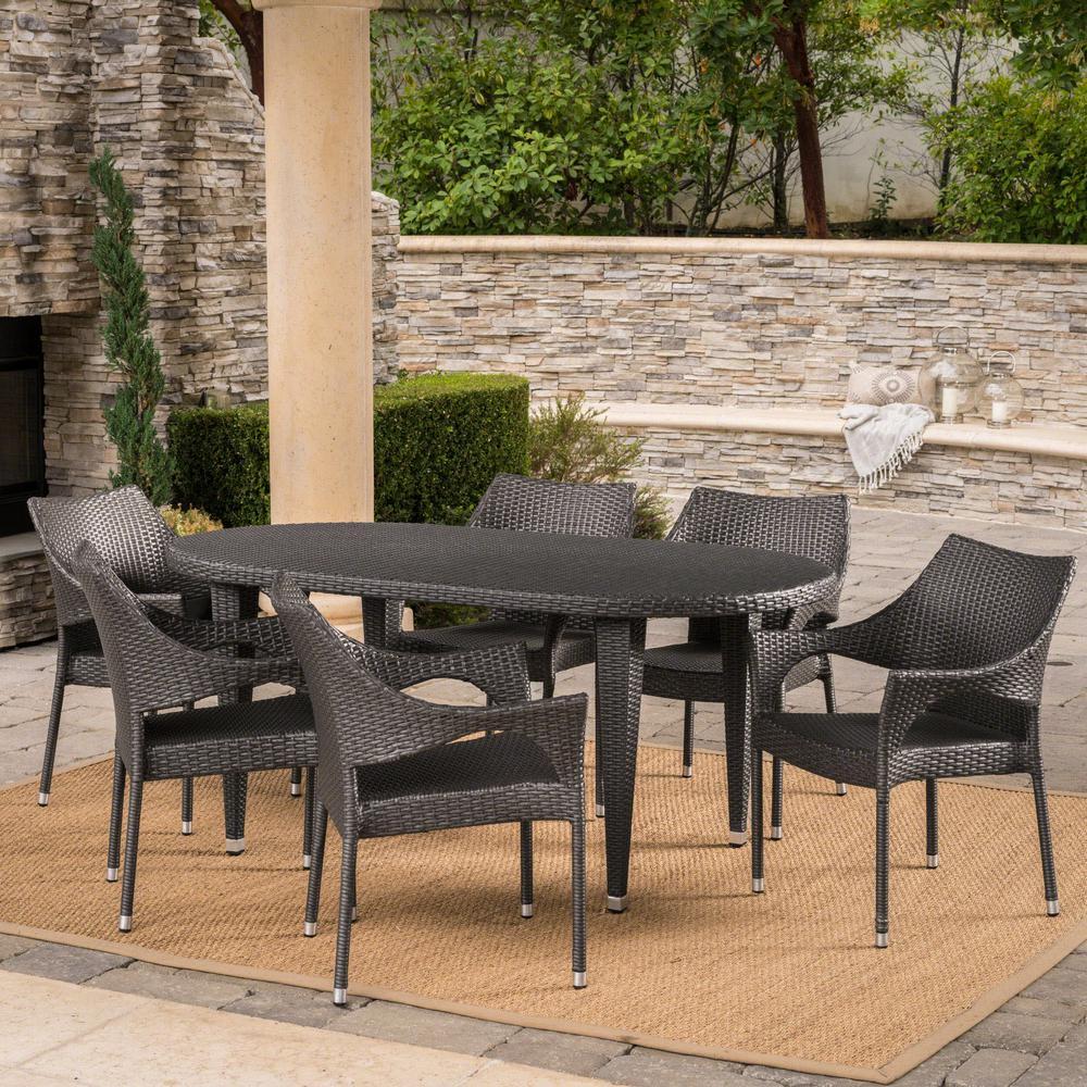 Tinos Grey 7-Piece Wicker Outdoor Dining Set