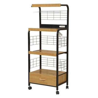 Home Source Frank Black Metal and Beech 3-Shelf Microwave Cart with Lower Drawer