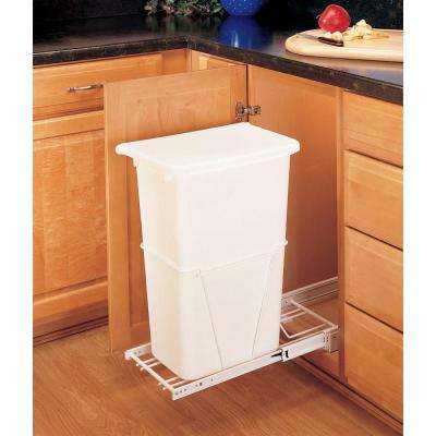 23.25 in. H x 10.75 in. W x 22 in. D Single 50 Qt. Pull-Out White Waste Container with 3/4 Extension Slides