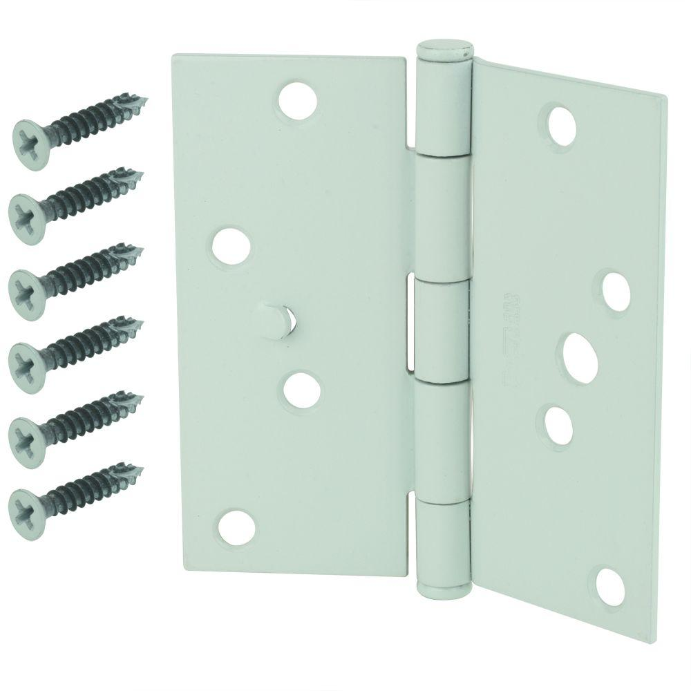 Everbilt 4 in. White Square Corner Security Door Hinge