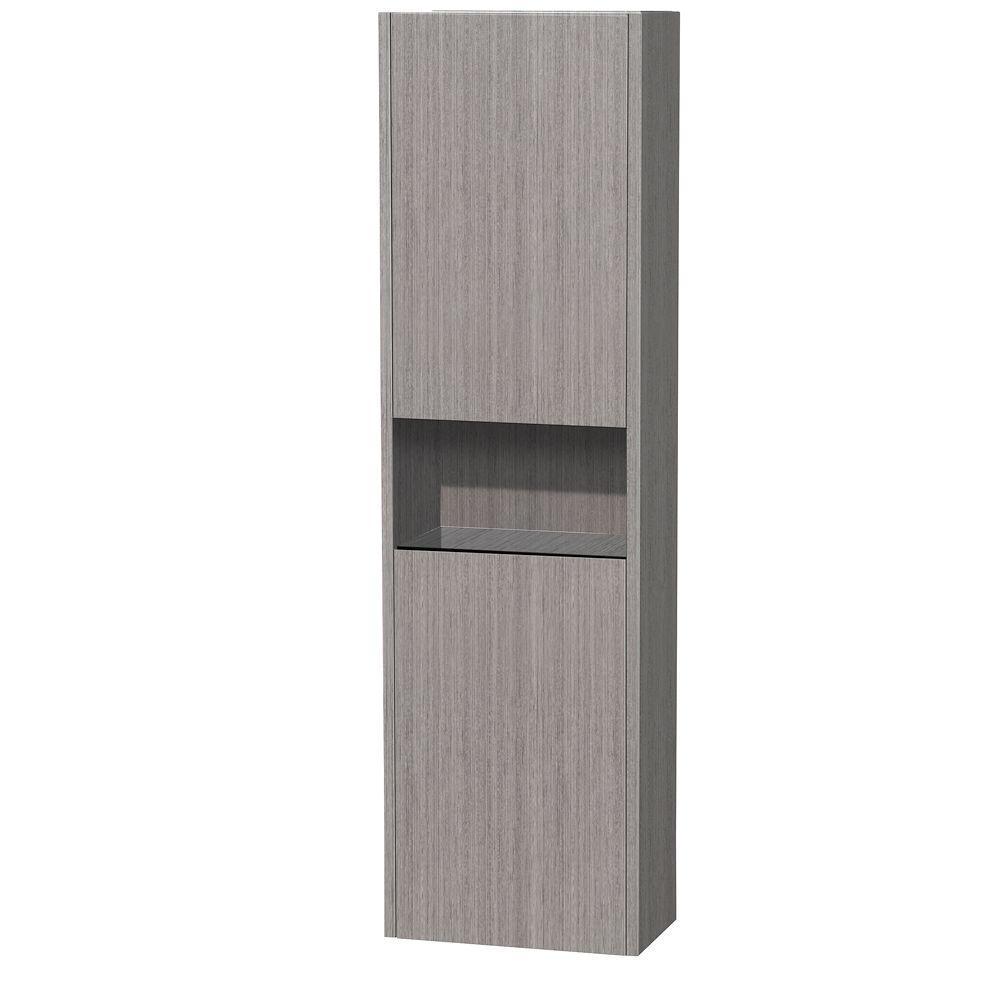Diana 16-1/8 in. W x 56-1/8 in. H x 9-1/8 in. D Bathroom Storage Wall Cabinet in Grey Oak
