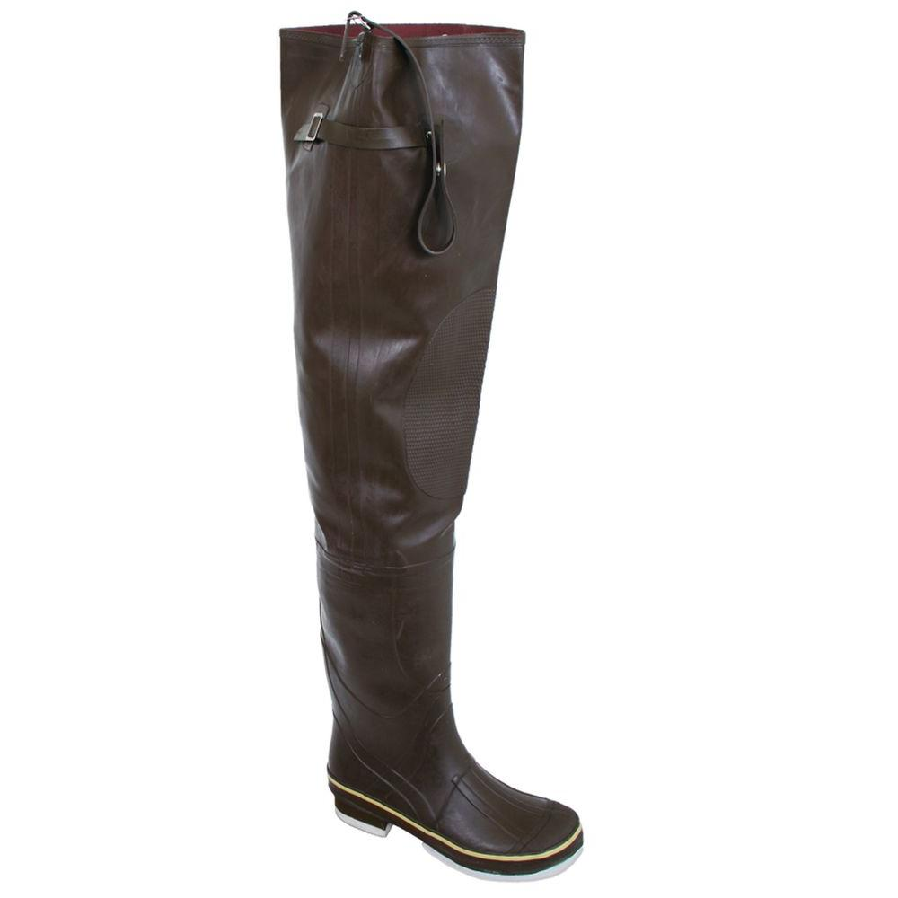 Calcutta Mens Size 9 Rubber Waterproof Insulated Reinforced Toe and Knee Adjustable Strap Felt Sole Hip Boots in Brown