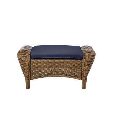 Beacon Park Brown Wicker Outdoor Patio Ottoman with CushionGuard Midnight Navy Blue Cushions
