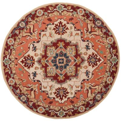 Chelsea Red/Ivory 5 ft. 6 in. x 5 ft. 6 in. Round Area Rug