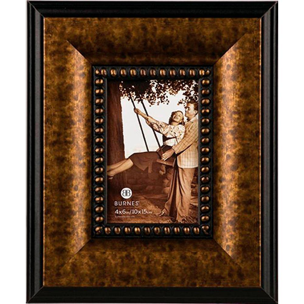 Home Decorators Collection Lisbon 1-Opening 4 in. x 6 in. Antiqued Bronze Picture Frame