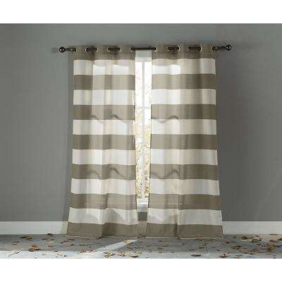 Blackout Kathi 96 in. L Cotton Grommet Panel in Taupe (2-Pack)