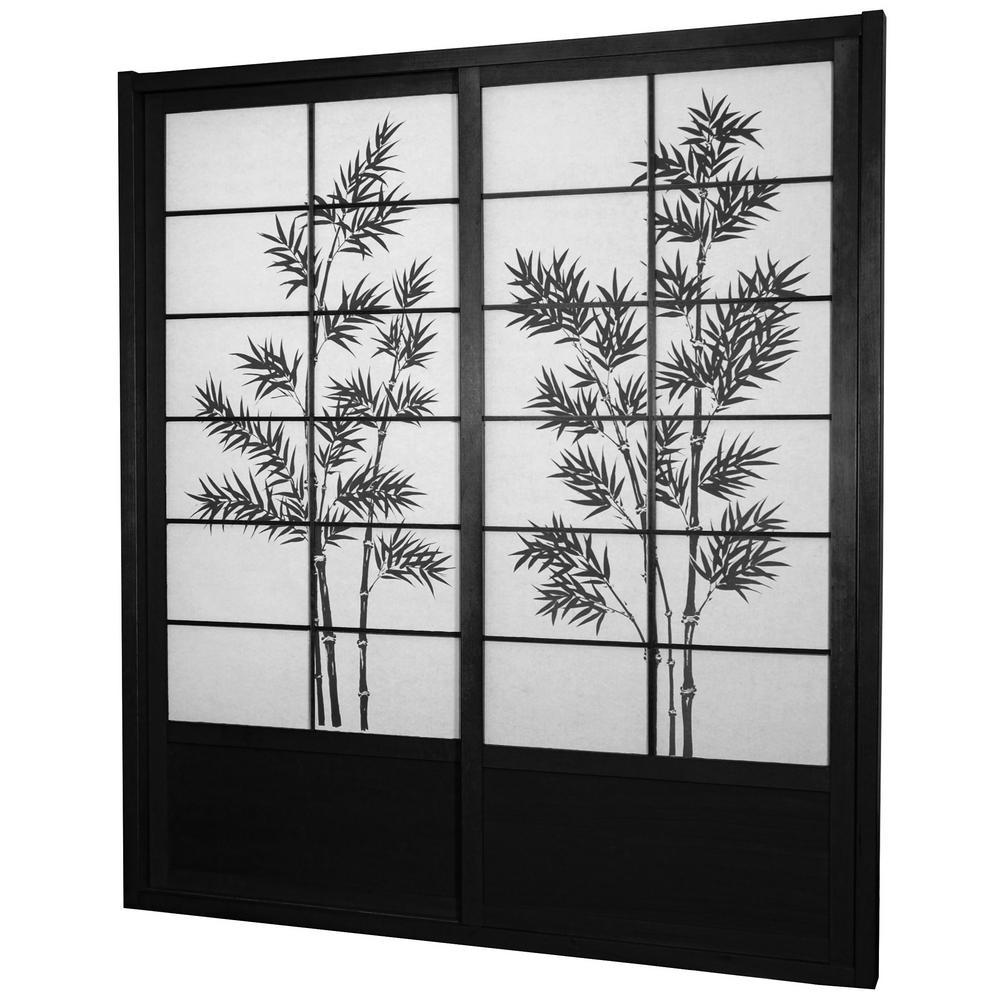 Oriental Furniture 7 ft. Black Bamboo Tree 2-Panel Sliding Door  sc 1 st  The Home Depot & Oriental Furniture 7 ft. Black Bamboo Tree 2-Panel Sliding Door-DOOR ...