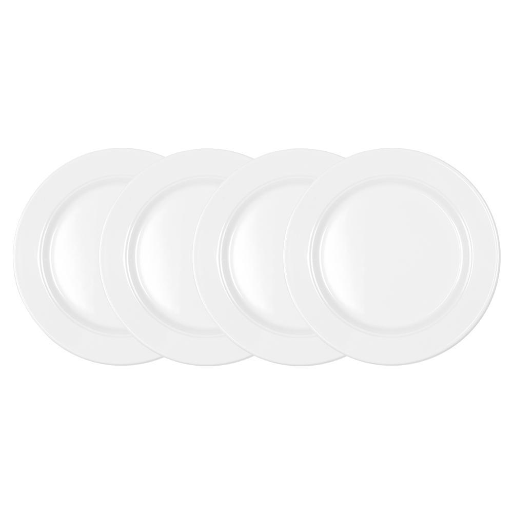 Diamond 4-Piece White Round 8 in. Melamine Salad Plate Set