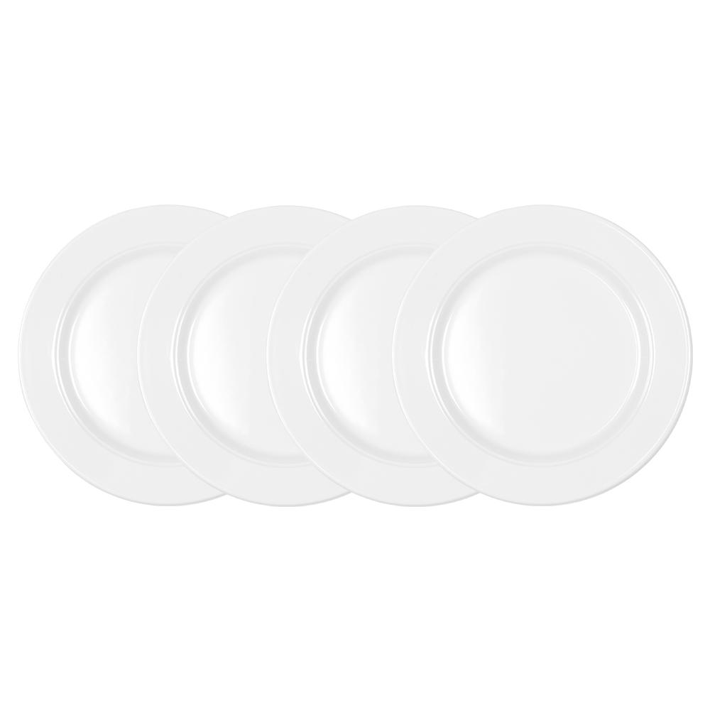 Diamond 4-Piece White Round 8 in. Melamine Salad Plate Set
