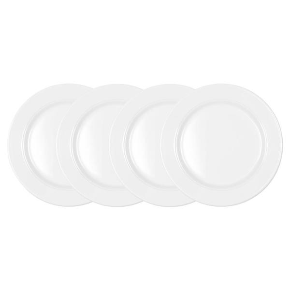 Q Squared Diamond 4-Piece White Round 8 in. Melamine Salad Plate