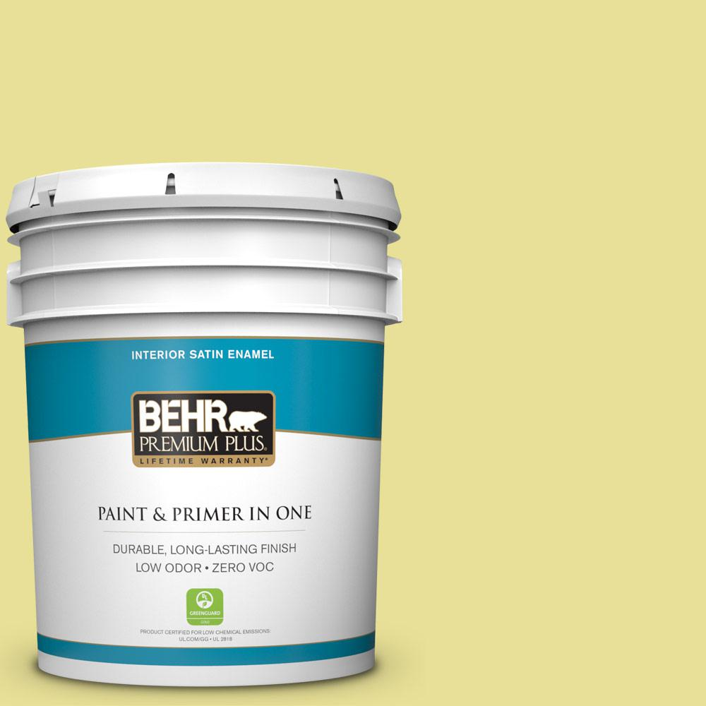 BEHR Premium Plus 5-gal. #P340-3 Reviving Green Satin Enamel Interior Paint