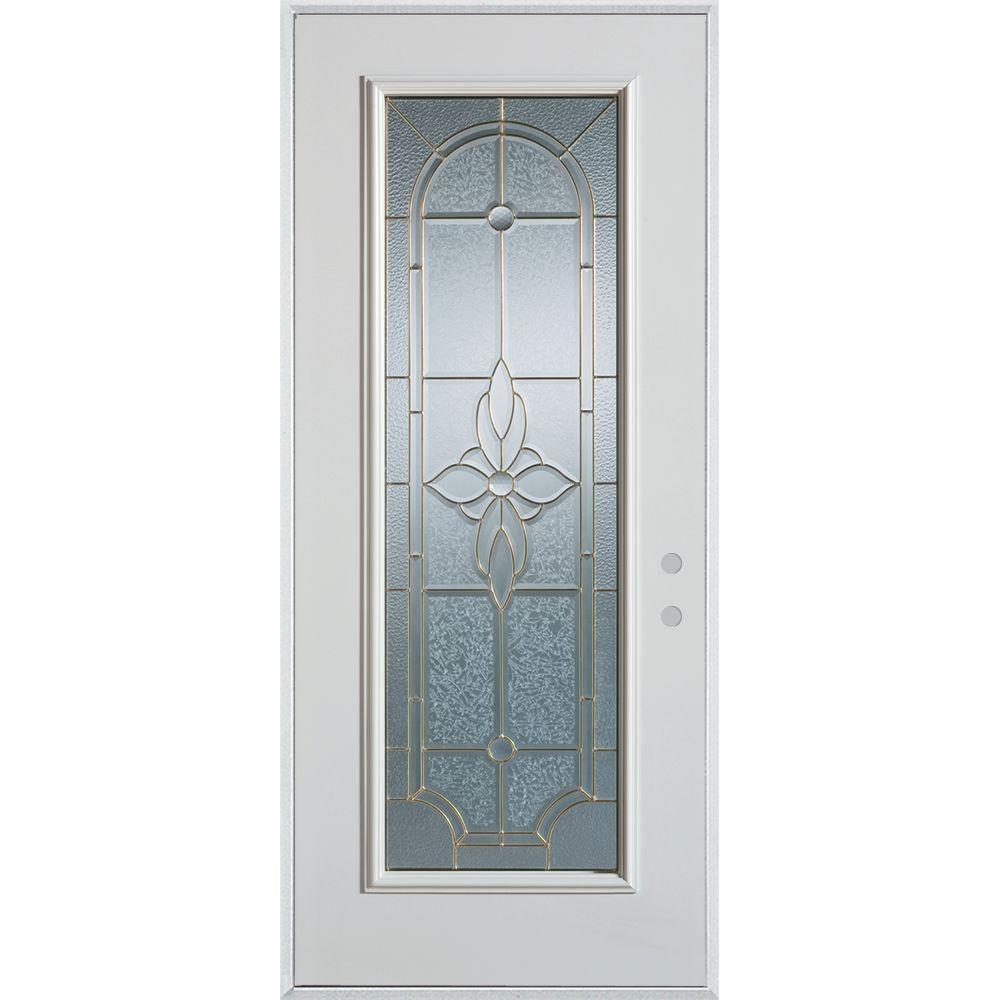 Stanley Doors 32 in. x 80 in. Traditional Patina Full Lite Painted White Left-Hand Inswing Steel Prehung Front Door