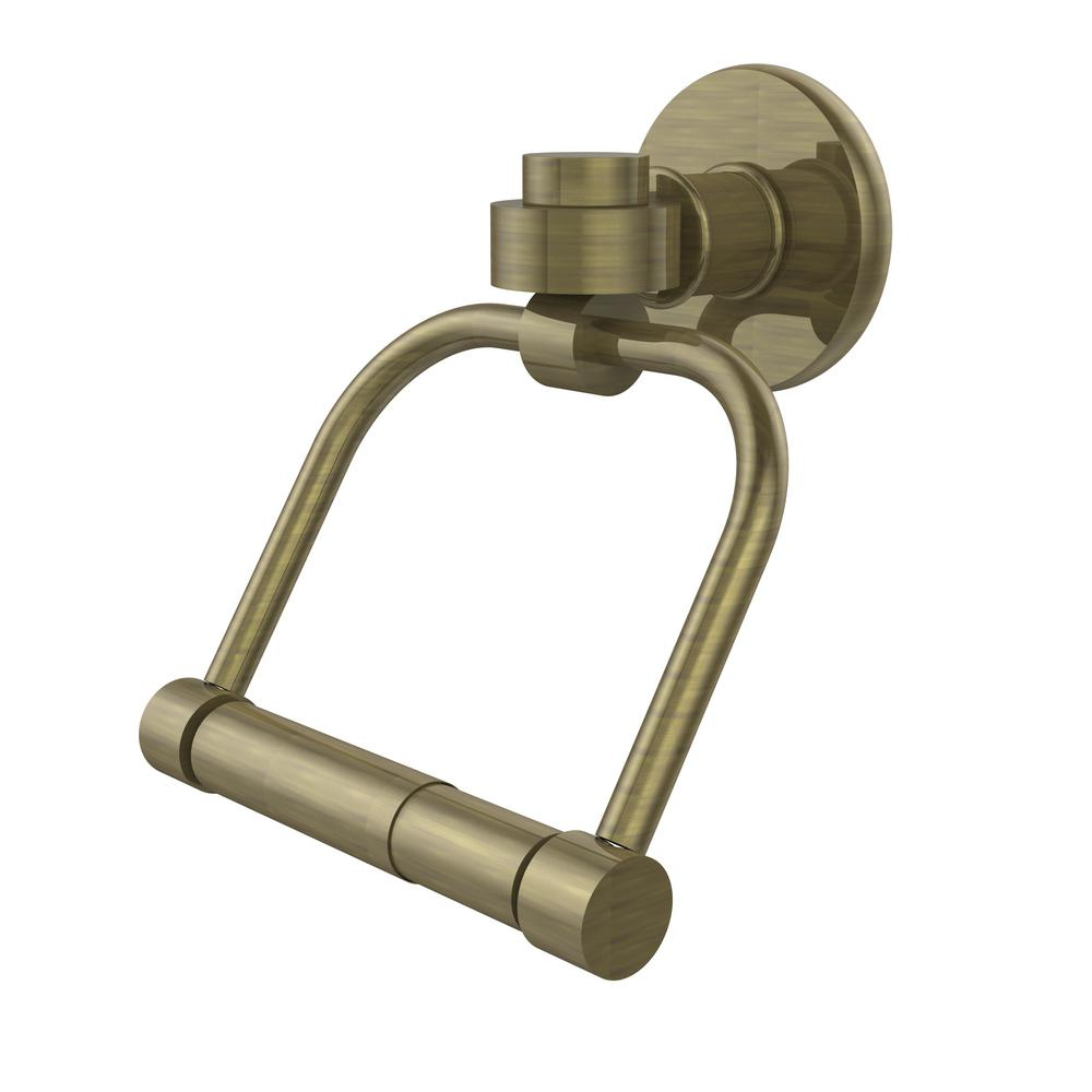 Continental Collection Single Post Toilet Paper Holder in Antique Brass