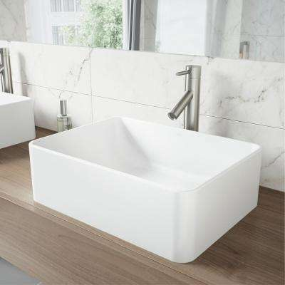 Caladesi Matte Stone Vessel Sink in White with Dior Bathroom Vessel Faucet in Brushed Nickel