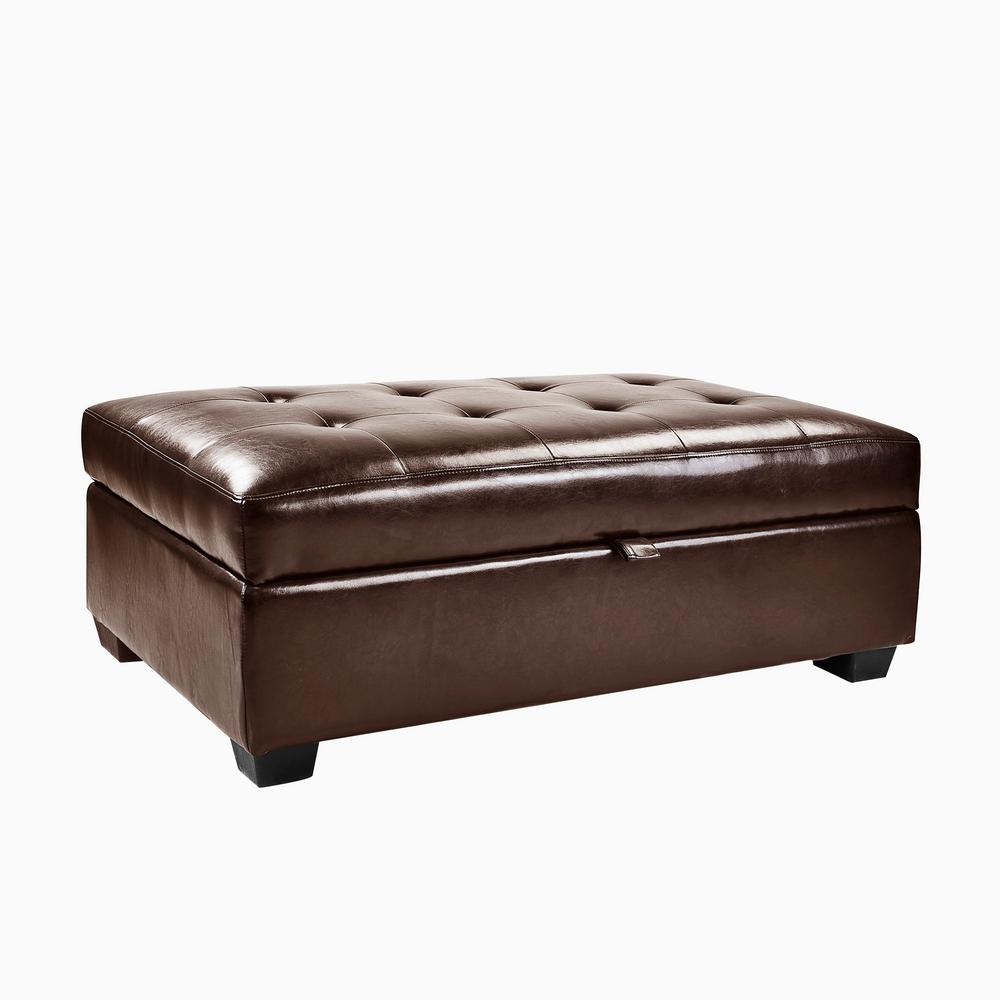CorLiving Antonio Brown Bonded Leather Storage OttomanLAD123O