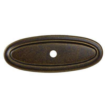3 in. Antique Brass Classic Thin Oblong Cabinet Knob Backplate (10-Pack)