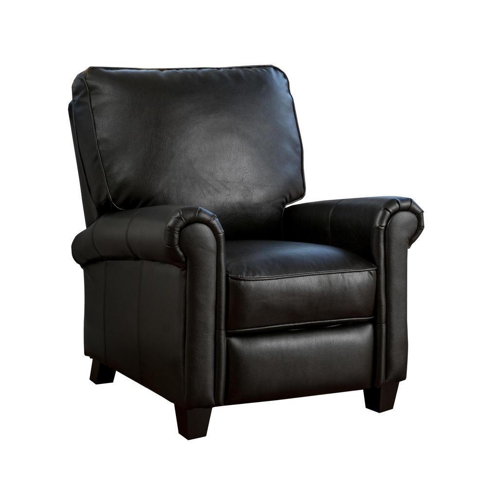 Noble House Dallon Black PU Leather Push Back Recliner