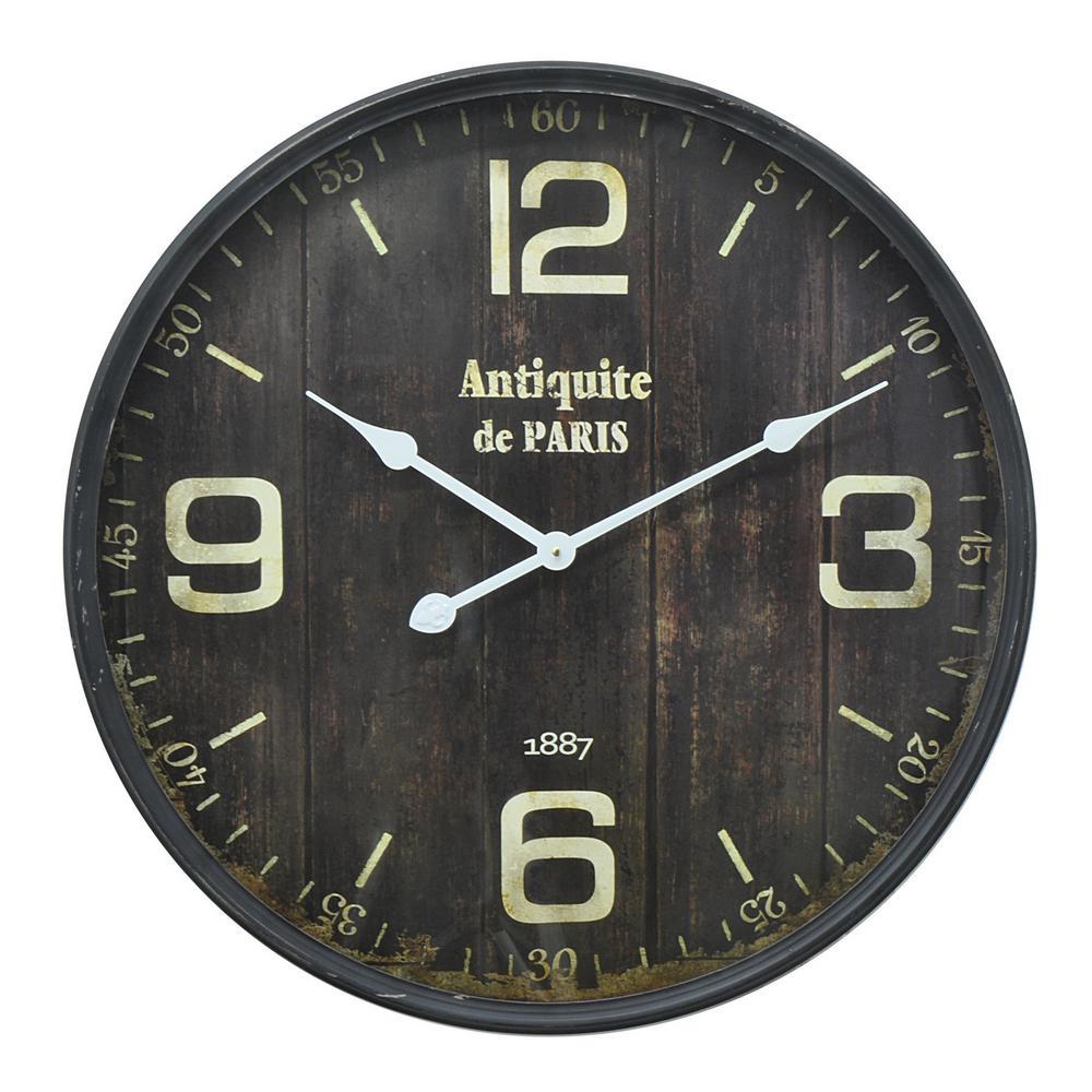23.5 in. x 2.75 in. Metal Wall Clock in Black