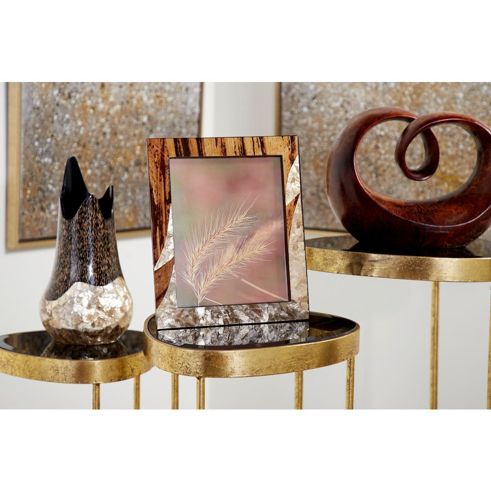 LittonLane Litton Lane 8 in. x 10 in. Large Inlaid Gold Capiz Shell and Banana Wood Picture Frame, Gold/ Brown