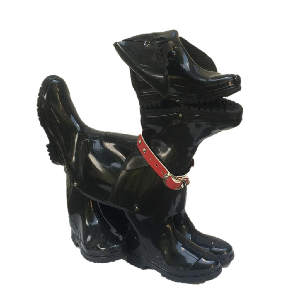 23 in. Whisper the Boot Buddies Dog Sculpture and Planter Decorative Home and Garden Loyal Companion Statue Black Gloss, Blacks