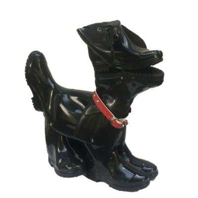 23 in. Whisper the Boot Buddies Dog Sculpture and Planter Decorative Home and Garden Loyal Companion Statue Black Gloss