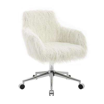 Fran White and Chrome Adjustable Office Chair