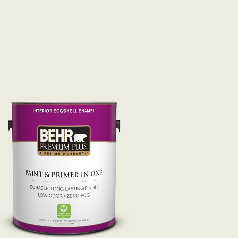 BEHR Premium Plus 1 gal. #GR-W9 Snowfall White Eggshell Enamel Zero VOC Interior Paint and Primer in One