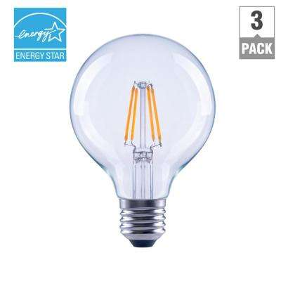 60-Watt Equivalent G25 Dimmable Clear Filament LED Light Bulb, Daylight (3-Pack)