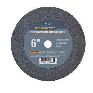 POWERTEC 6 inch x 3/4 inch x 1/2 inch 60 Grit Silicon Carbide Grinding Wheel by POWERTEC