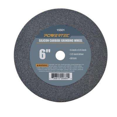 6 in. x 3/4 in. x 1/2 in. 60 Grit Silicon Carbide Grinding Wheel