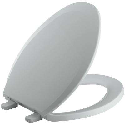 Lustra Elongated Closed-Front Toilet Seat in Ice Grey