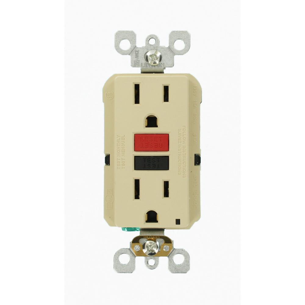 15 Amp 125-Volt Duplex Self-Test Slim GFCI Outlet, Ivory (3-Pack)