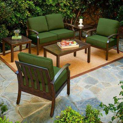 Bridgeport 6-Piece Metal Patio Conversation Set with Green Cushions