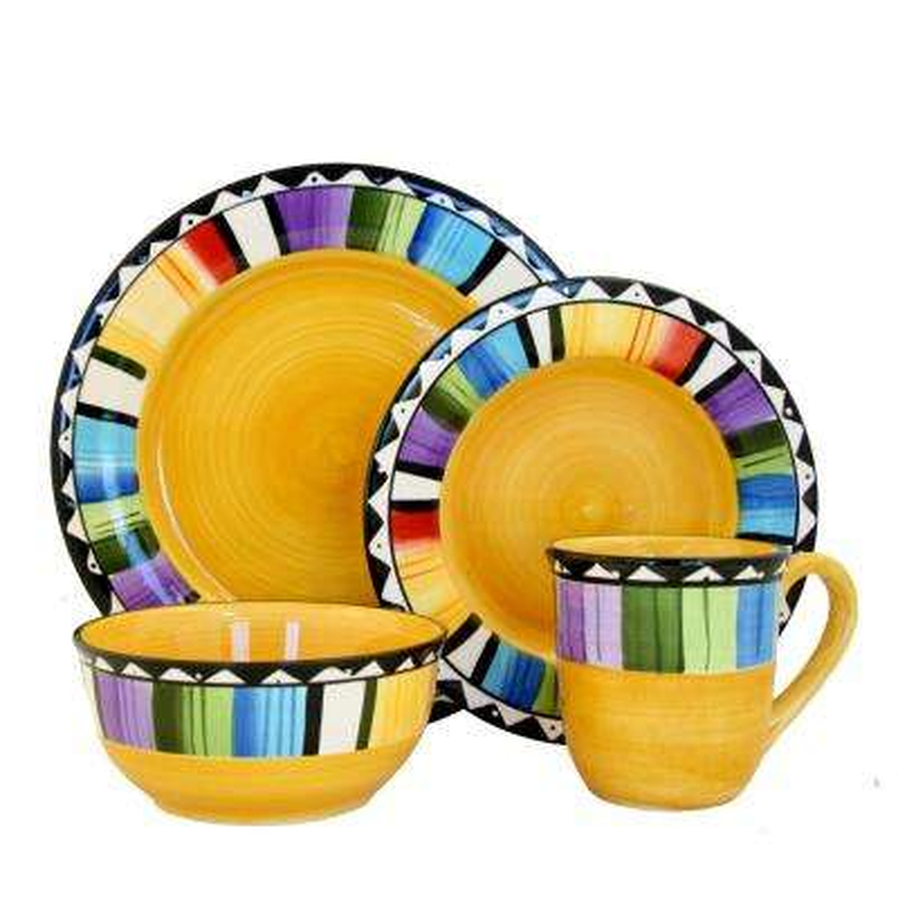 Fandango 16-Piece Yellow Dinnerware Set