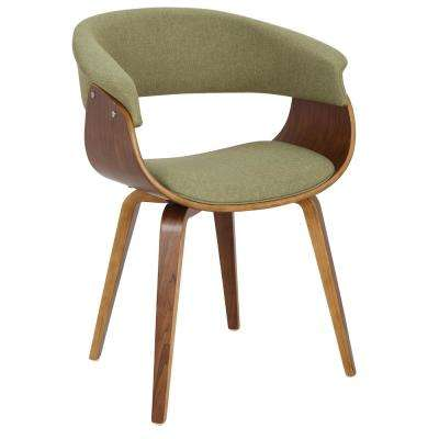 Vintage Mod Walnut And Green Dining Accent Chair