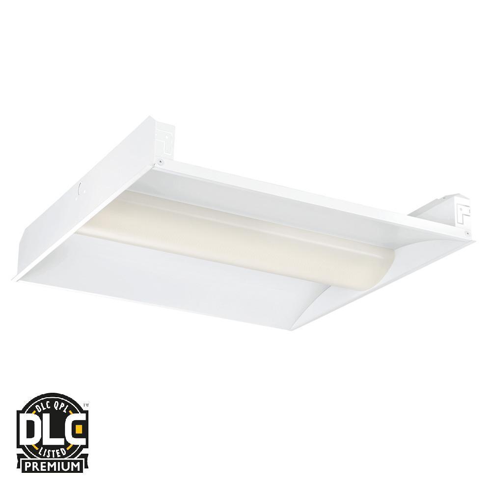 2 ft. x 2 ft. 128-Watt White Volumetric Integrated LED Commercial Grid Ceiling Troffer (2-Pack)