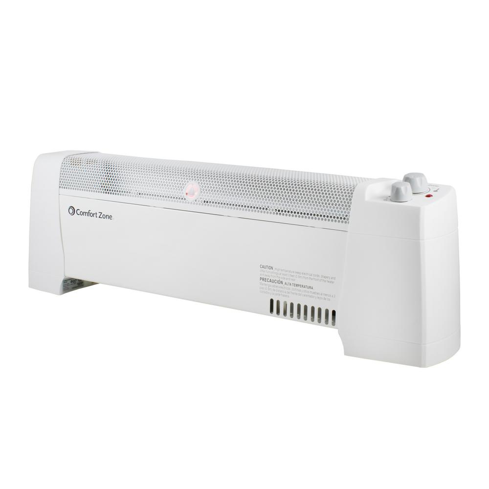 Miraculous Comfort Zone 1 500 Watt Convection Baseboard Heater With Silent Operation In White Cjindustries Chair Design For Home Cjindustriesco