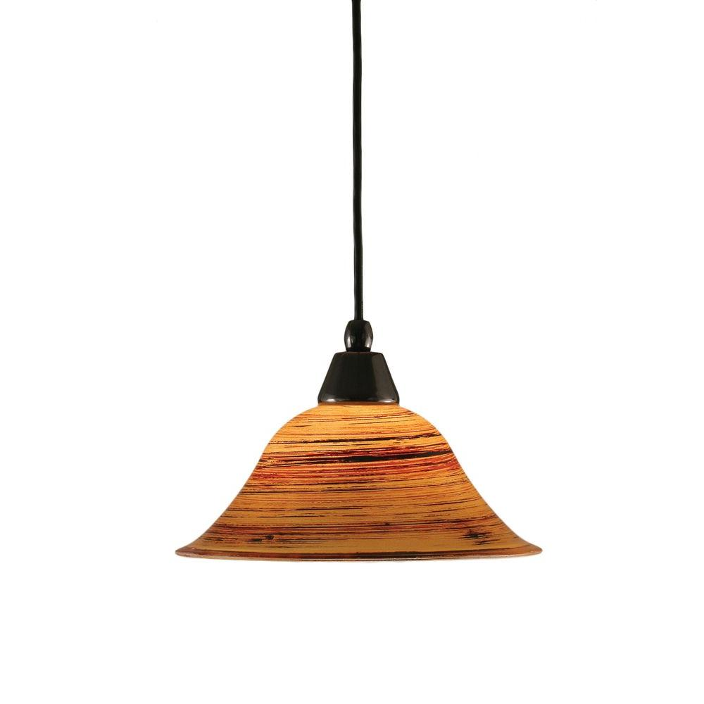 Armenta 1-Light Black Copper Pendant with Firre Saturn Glass
