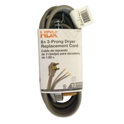 6 ft. 6/2 3-Prong Appliance Extension Cord, Grey