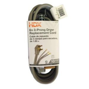 HDX 6 ft. 10/3 3-Wire Dryer Cord-HD#627-833 - The Home Depot  Prong Dryer Schematic Wiring Diagram on 3 wire plug diagram, 3 prong plug wiring colors, 3 prong dryer transformer, 3 prong headlight wiring, 3 wire range outlet diagram, kenmore dryer power cord connection diagram, 4 wire dryer connection diagram, 3 prong dryer power, 3 prong electrical wiring guide, 3 prong dryer cover, 3 prong dryer cord diagram, 4 prong outlet diagram,
