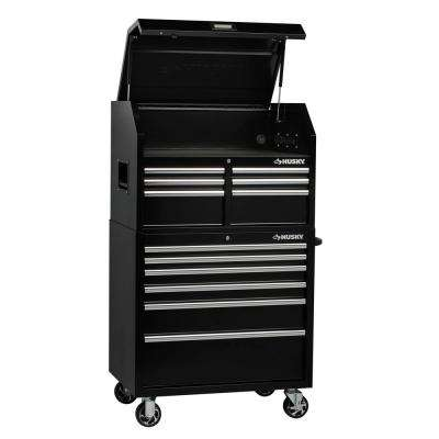 36 in. w x 24.5 in. d 12-drawer tool chest and rolling cabinet combo in  black