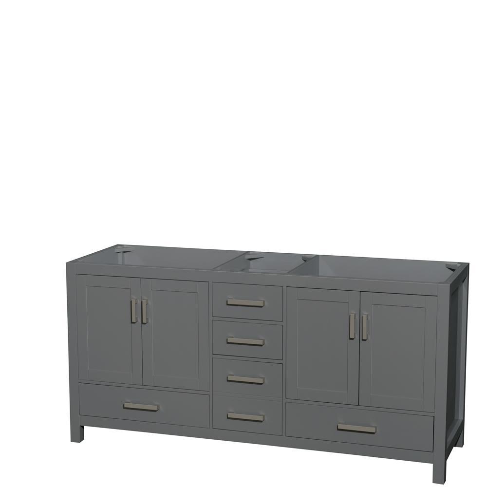 Sheffield 70.75 in. W x 21.5 in. D Vanity Cabinet Only in Dark Gray
