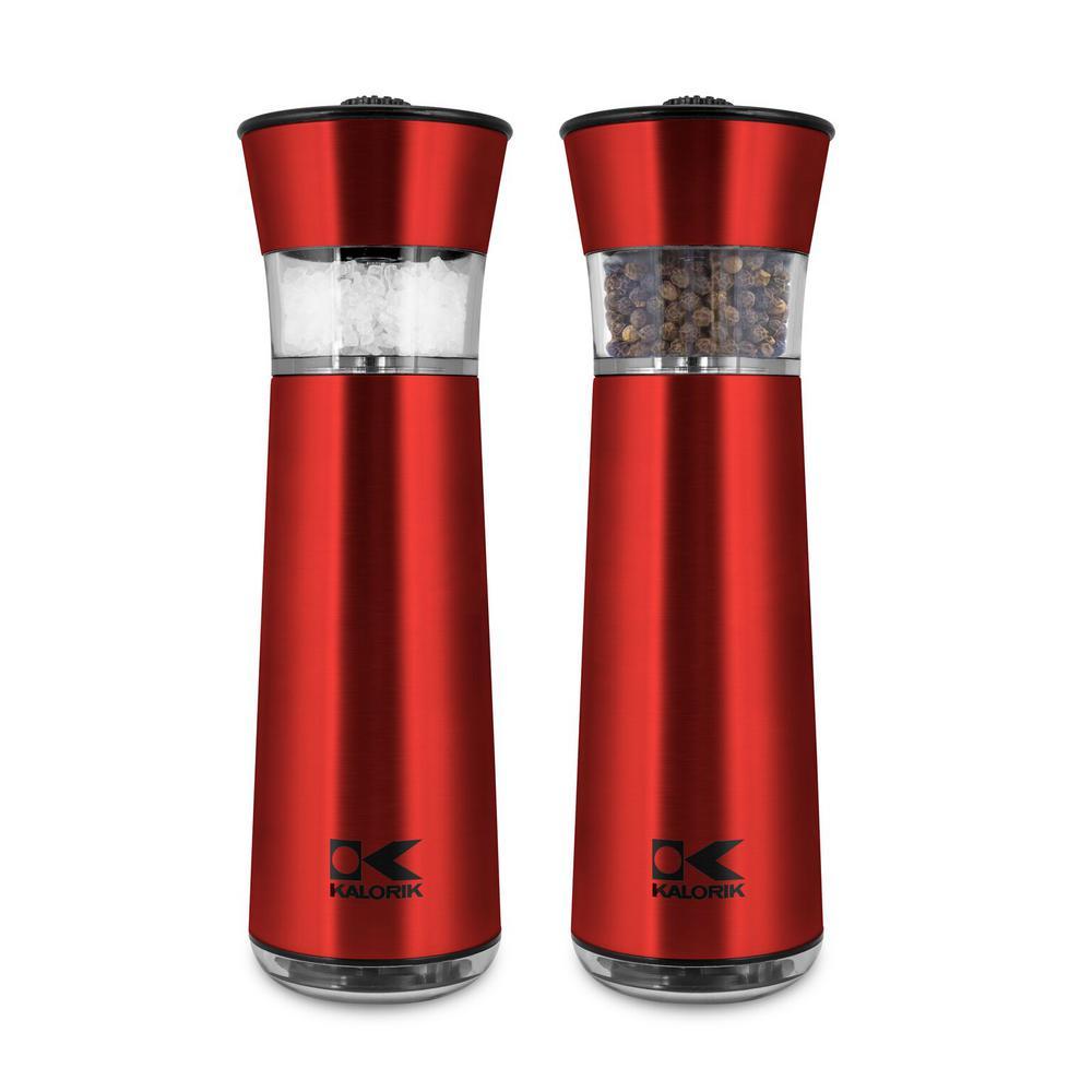 KALORIK Easygrind Electric Gravity Salt and Pepper Grinder Set in Red