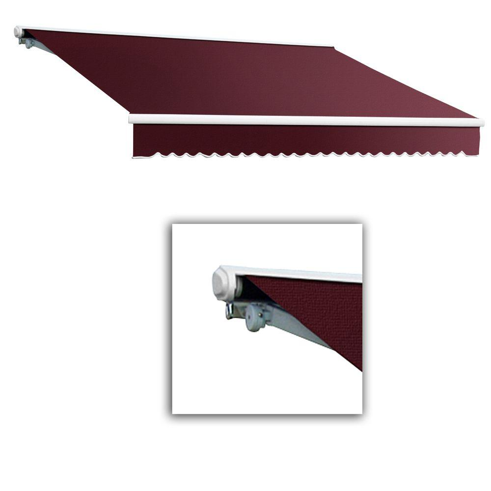 AWNTECH 14 ft. Galveston Semi-Cassette Right Motor with Remote Retractable Awning (120 in. Projection) in Burgundy