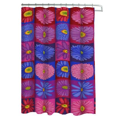 Oxford Weave Textured 70 in. W x 72 in. L Shower Curtain with Metal Roller Hooks in Brighten Up Daisy Brights