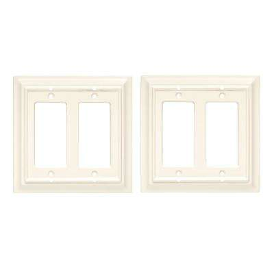 Architectural Wood Decorative Double Rocker Switch Plate, White (2-Pack)